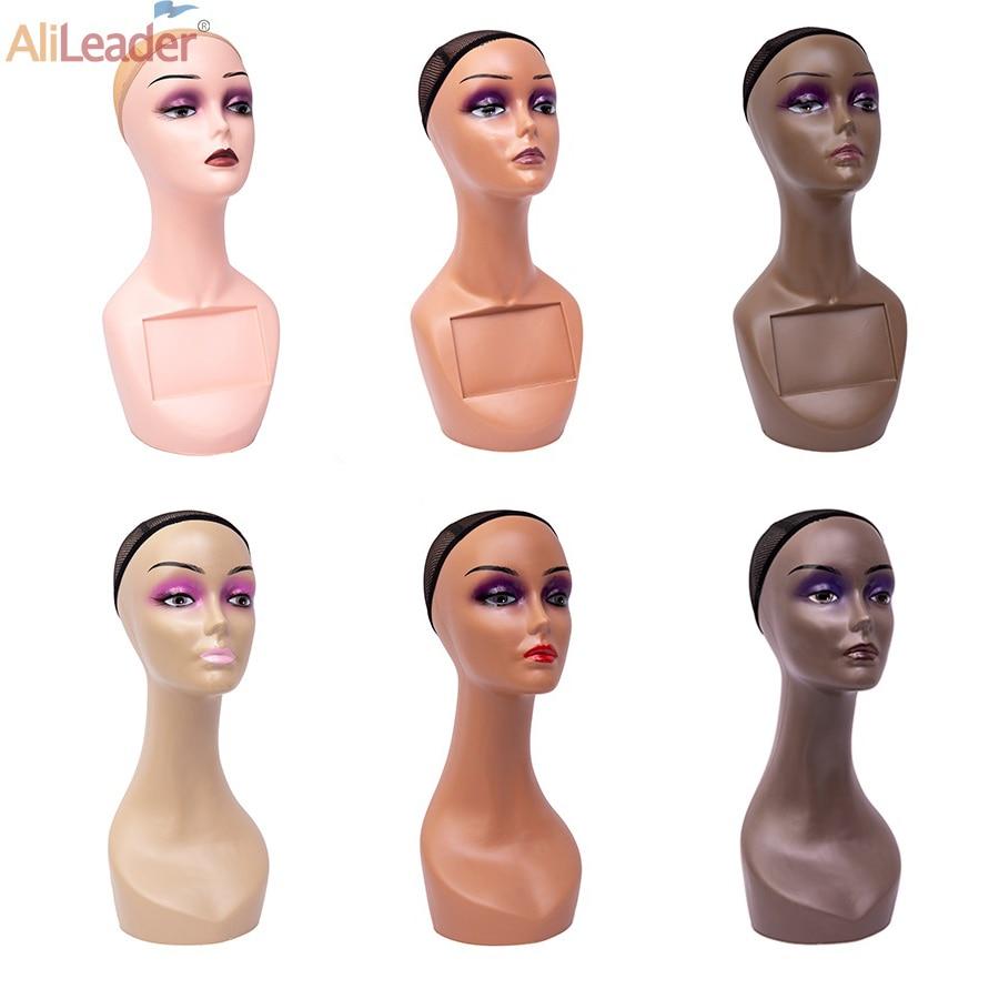 Alileader رخيصة أنثى التجميل المعرضة رئيس مع الرقبة طويلة صالون تصفيف الشعر التدريب دمية رئيس ل شعر مستعار وشاح قبعة العرض