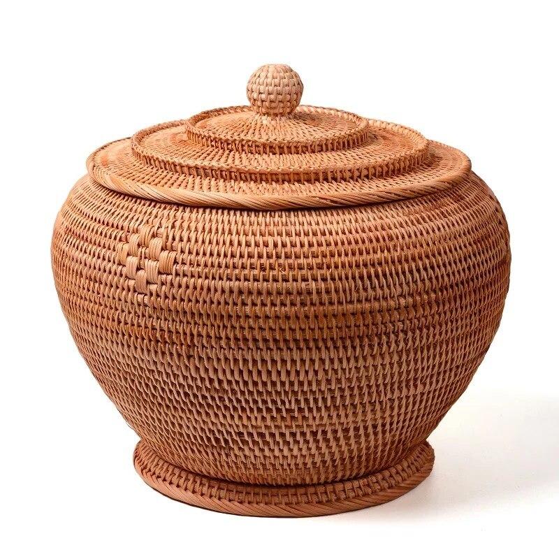Rattan tecido templo forma puer chá bolo lata caixa recipiente frasco tanque organizador jarro diversos organizador rattan cesta de armazenamento frascos