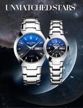 Couple BELUSHI Black Steel Band Watch Road Watch Dual Calendar Luminous Blu-ray Waterproof Couple Model