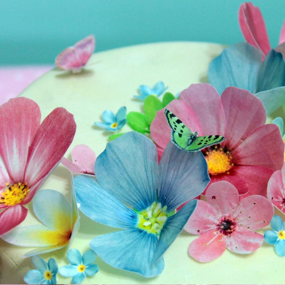 27 unids/pack Margarita de flores comestibles, mariposa se puede comer directamente papel de oblea comestible flor artificial Decoración de Pastel l, pastel herramientas