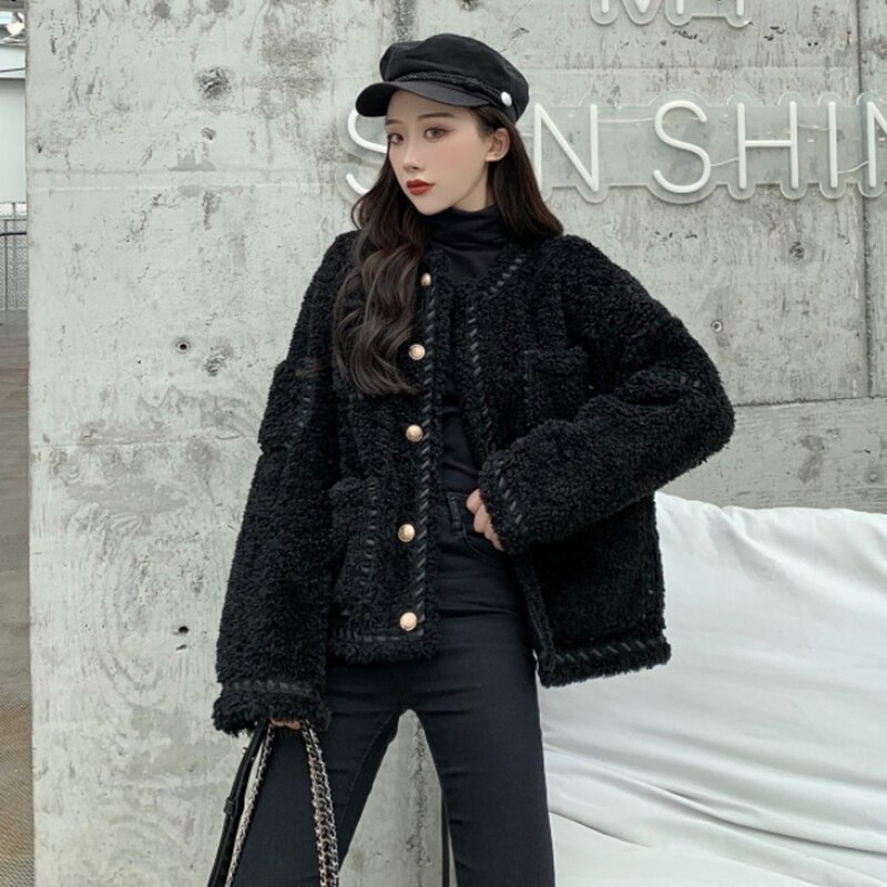 Nuevo Otoño Invierno suelta gran bolsillo lana de cordero abrigo mujer estilo chic-breasted chaqueta parka tops mujeres abrigo