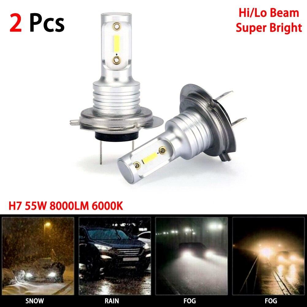 H7 Bombillas de faros LED Kit de conversión de Hi/Lo haz 55W 8000LM 6000K Super brillante