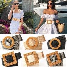Cinturón trenzado bohemio Vintage para mujer, Correa lisa de madera redonda con hebilla lisa, cinturones anchos de paja falsa para vacaciones de verano