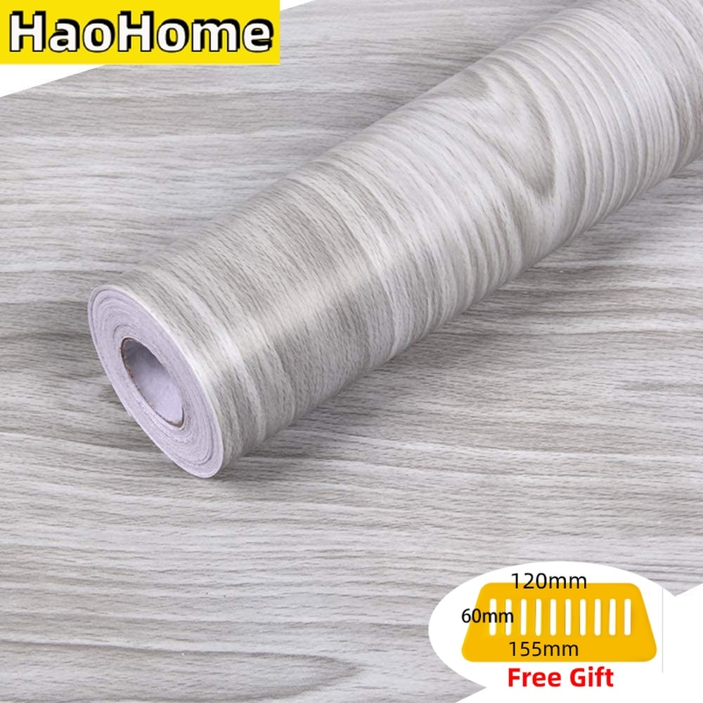 HaoHome Gray Wood Grain Peel and Stick Wallpaper Wood Shlef Liner Removable Contact Paper Self Adhesive Grey Wall Covering brown wood papers wood peel and stick wallpaper removable wood grain self adhesive vintage distressed wood grain renovated paper