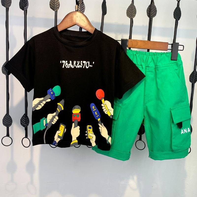 2021 Children T-shirts Shorts Suits Summer Boys Clothes Sets Cotton O-neck Loose Style Kids Clothing Sets Boy Tops And Shorts summer kids clothes sport sets for girls sea short sleeve t shirts denim shorts children korea style cotton clothing suits