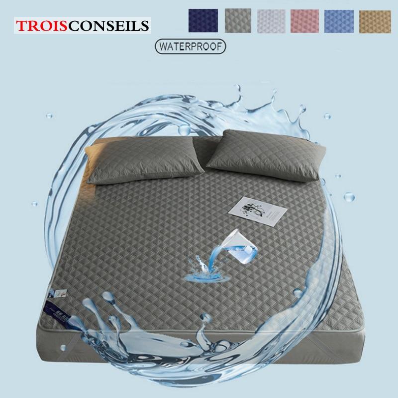 غطاء واقي للمرتبة مقاوم للماء للسرير ، واقي مرتبة مقاوم للماء 180 × 200 سنتيمتر ، غطاء علوي ناعم مسامي بحجم كينغ/كوين