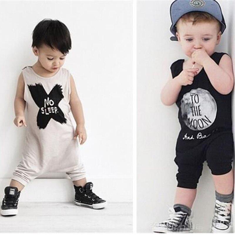 2020, ropa para bebés, verano, sin mangas carta impresa, chaleco, Mono para bebés, mameluco Casual, mono, trajes, ropa