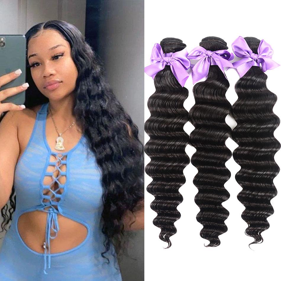 Бразильские волосы, волнистые, свободные, глубокие, пучки, натуральные, черные, 1/3/4 шт./лот, 100% человеческие волосы, пучки, предложения, натура...