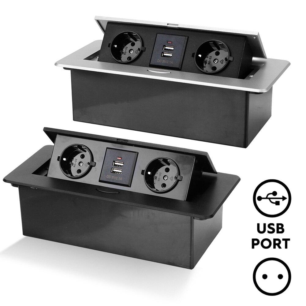 لغرفة الاجتماعات أسود فضي 2 3 الاتحاد الأوروبي المقبس سطح المكتب المقبس الجدول المخرج غطاء سبائك الألومنيوم مع USB الشحن