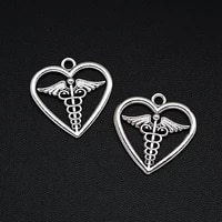 7pcslots 25x26mm antique silver plated medical sign charm alloy metal caduceus pendants for diy jewelry making findings crafts
