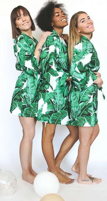 Атласный тропический халат, новые женские тропические халаты с листьями, халат подружки невесты, свадебные халаты, свадебный подарок, ночна...