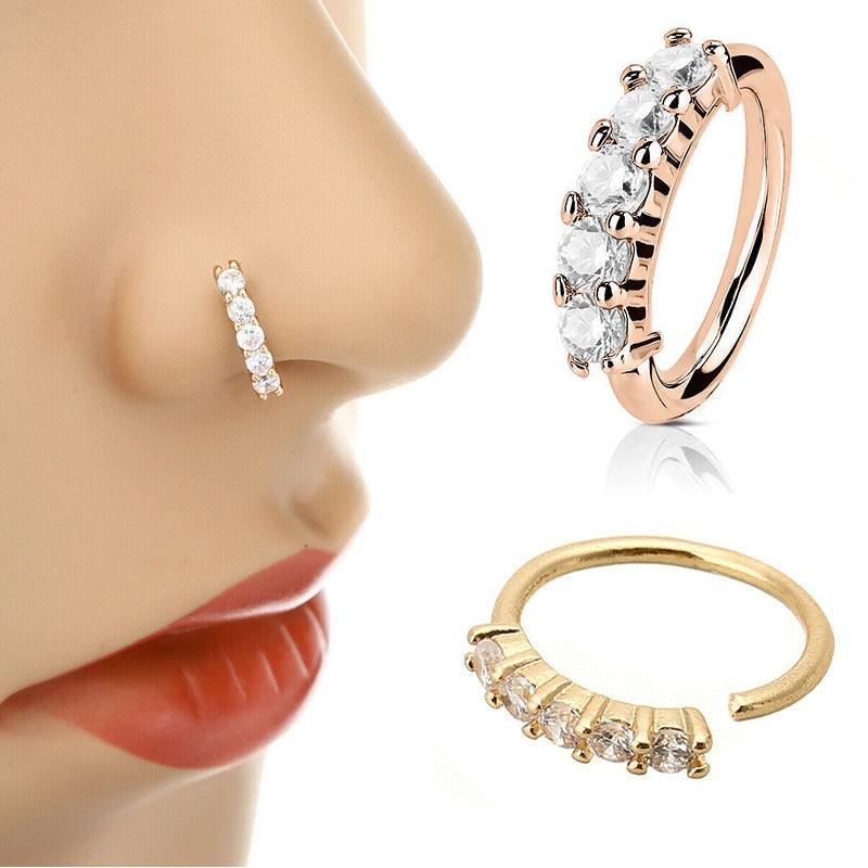 1 Pcs Piercing Nose Ring Expander Seamless Segment Ear Nose Hoops Gold Color Cz Tragus Cartilage Ear