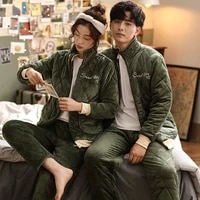 coral fleece three layer thickened cotton padded jacket couples pajamas autumn winter mens and womens flannel home wear set