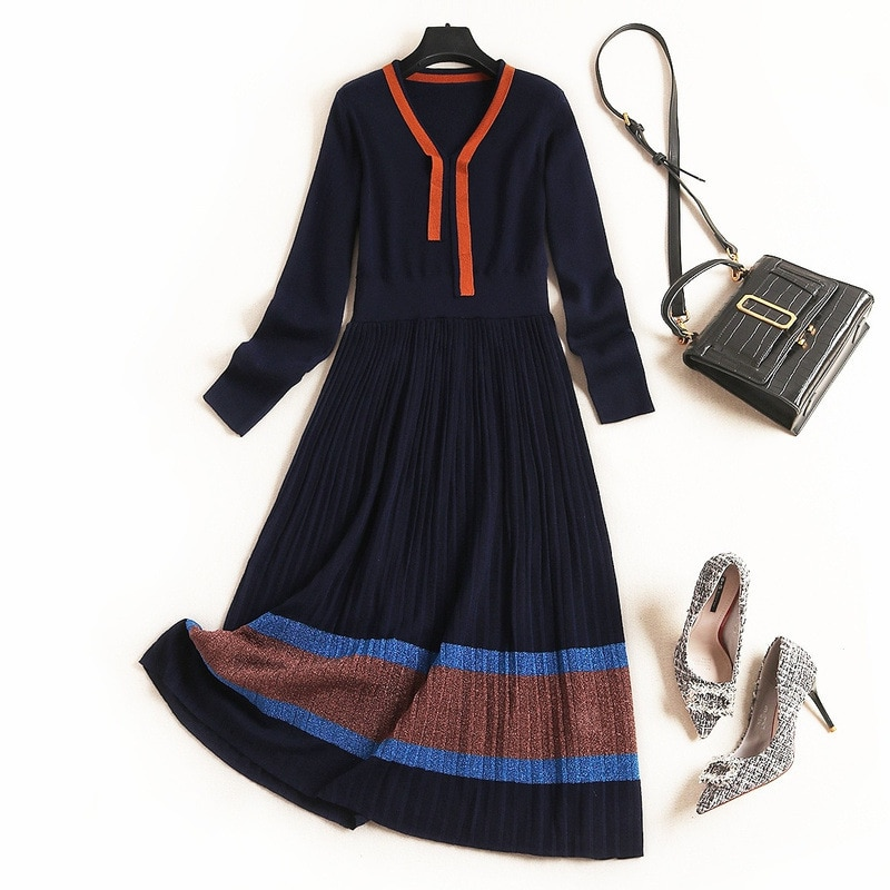 Women wool knitted sweater winter dress color block striped pleated elegant midi long sleeve dresses navy blue 2019