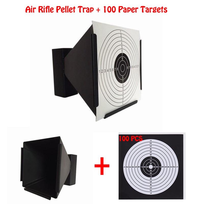 Thunter 14cm Funnel Shooting Target Holder Tactical Bullet Trap Pellet Trap Ammo Holder 100X Paper Targets Rifle Airsoft Shotgun