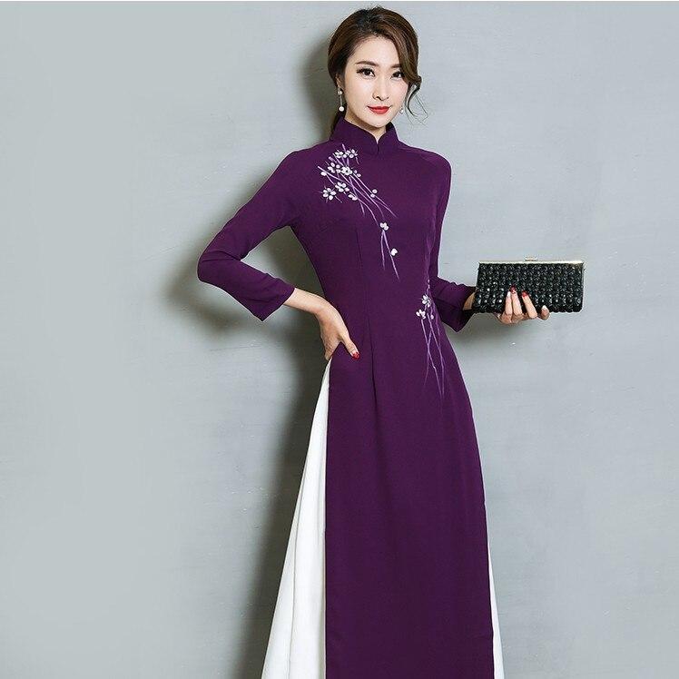 New Vintage Women dress Chinese Wind Mr D Improved Long Dresses Purple Blue 3109