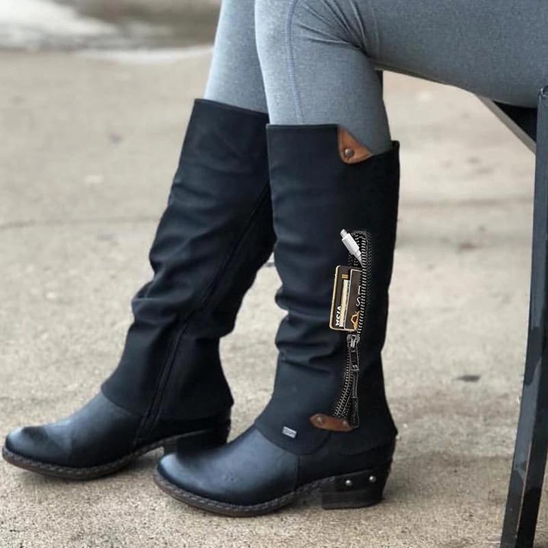 2020 botas femininas moda inverno longo mid botas à prova dwaterproof água dedo do pé redondo salto baixo neve quente botas femininas trabalho antiderrapante sapatos femininos