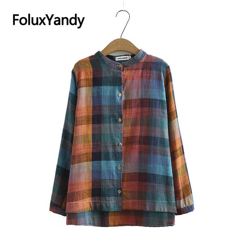 Plaid Shirt Womens Plus Size Casual O-neck Long Sleeve Blouse KKFY4799