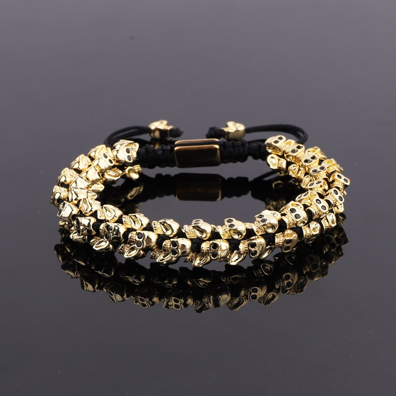 High Quality Men Jewelry Bracelet Handmade Cute Brass CZ Skull Charm Braided Luxury Macrame Bracelet Men