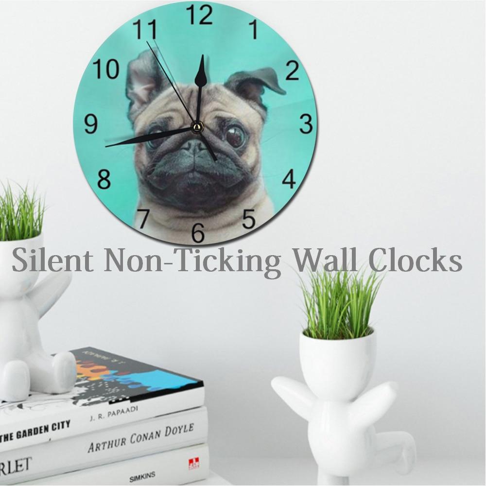Horloges murales rondes de 25CM   Chiens, cadran numérique, muettes, horloge numérique, à piles, ustensile, décoration murale pour la maison, salon
