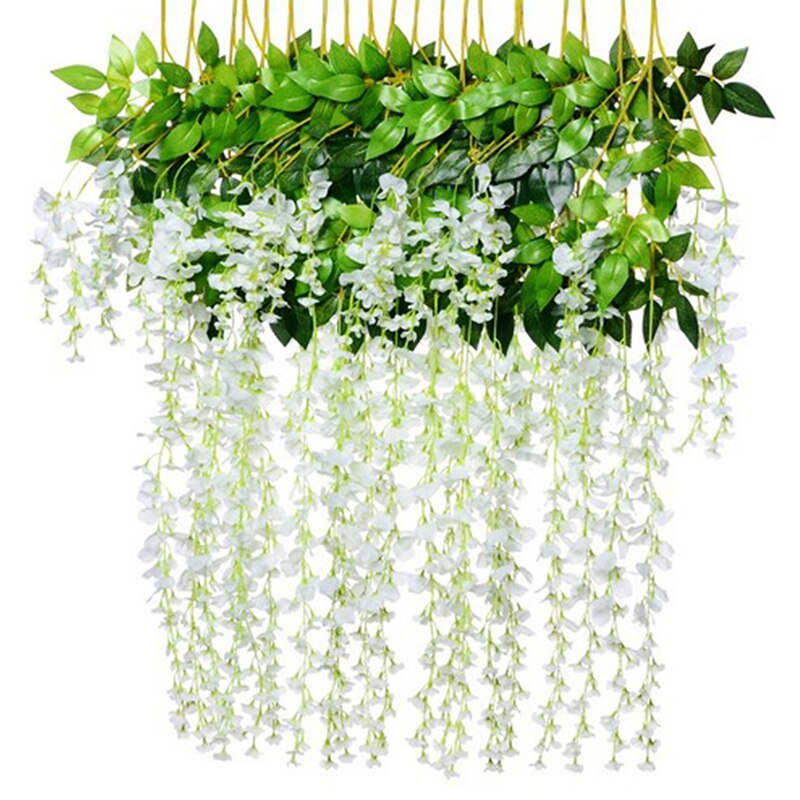 12Pcs / Wisteria Artificial Flower Silk Wreath Arch Wedding DIY Home Garden Office Decoration Pendant Plant wall Decoration