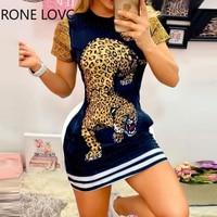 Женское летнее мини-платье с коротким рукавом и принтом тигра