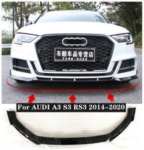3Pcs/1set ABS Black Car Bumper Front Lip Protector Cover Fits For AUDI A3 S3 RS3 2014 2015 2016 2017 2018 2019 2020