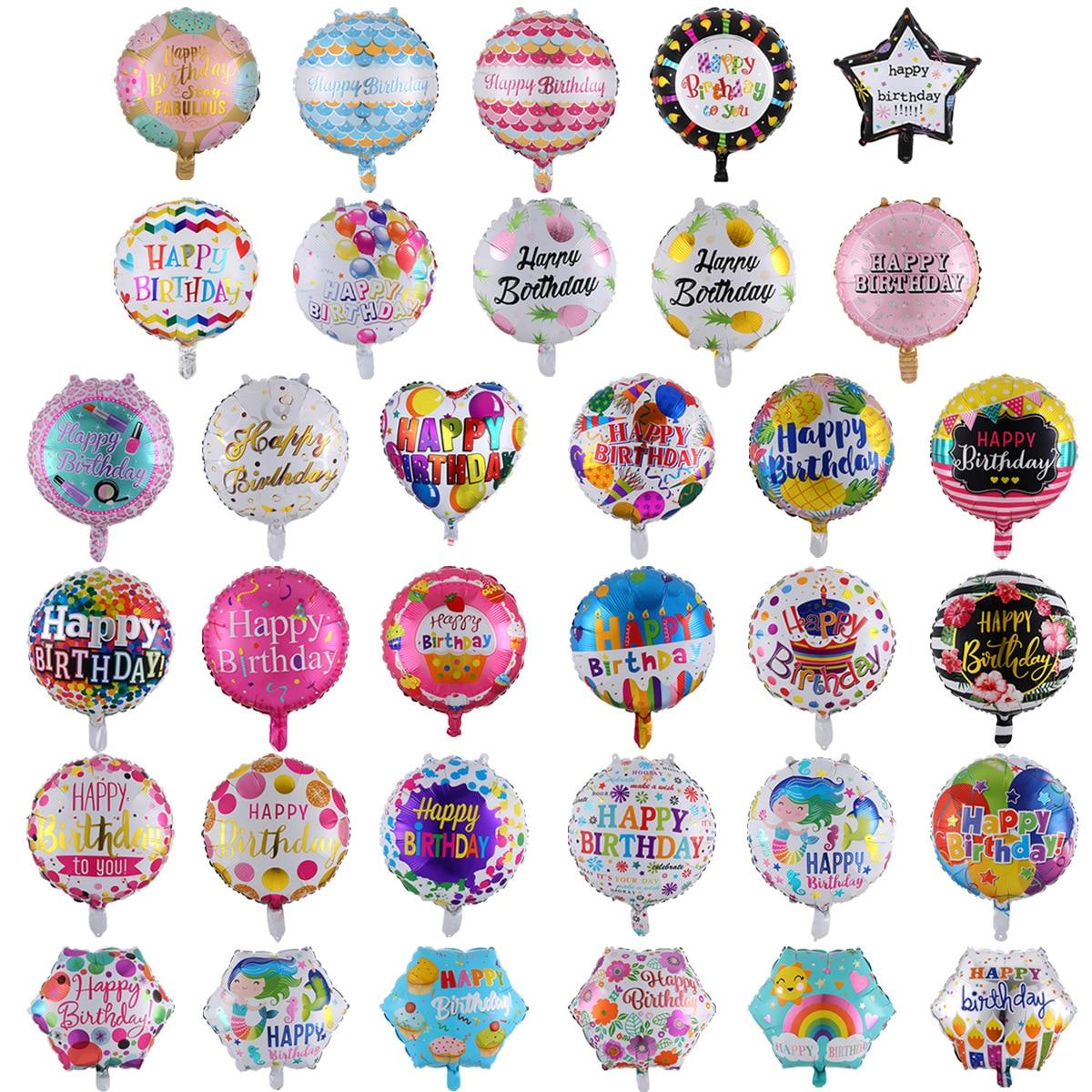 18-дюймовый на день рождения воздушные шары круглые алюминиевые воздушные шары «С Днем Рождения» День рождения украшение шары