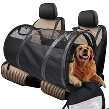 Porteuse de tente Portable noir pliable   Tapis de voiture pour animal domestique, siège arrière tente, respirant, étanche, en forme de Cage pour chien, accessoire de voyage