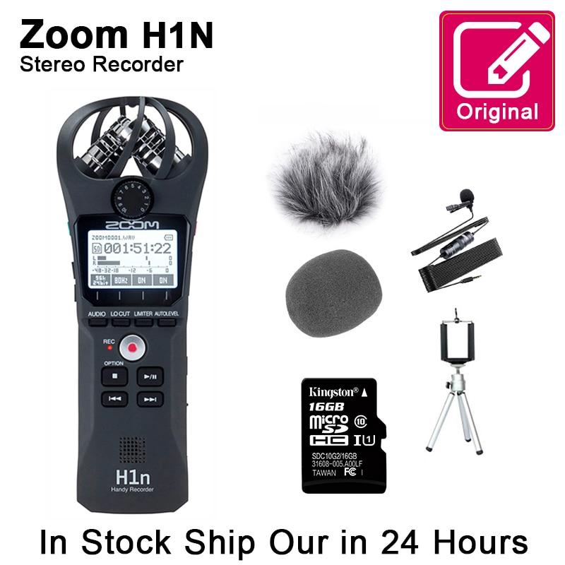 الأصلي التكبير H1N مفيد مسجل صوت رقمي الصوت المحمولة ستيريو ميكروفون مقابلة ميكروفون مع بطاقة SD Kingston16GB التسمية