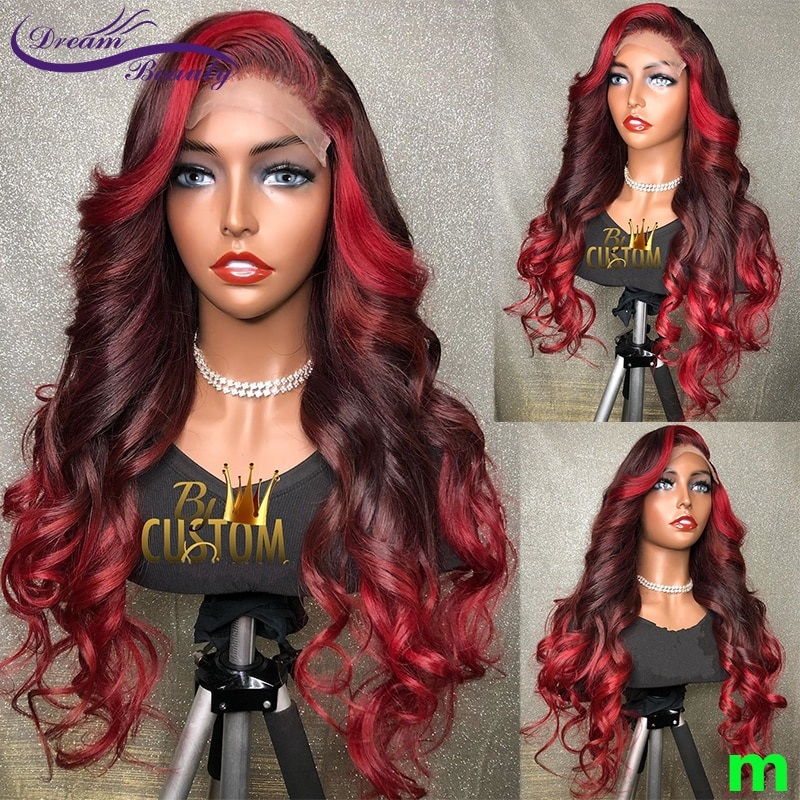 Ombre Red Burgundy 13X4 Lace Front Human Hair Wigs 180% Brazilian Remy Red Highlight Wavy Lace Front