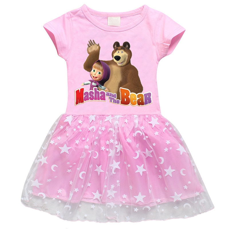 Kids Cartoon Dress For Girls Printed Lace Dresses Baby Girl Cartoon Princess Dress Paty Costume Summer short-sleeved Clothes western girl spring floral dress girl baby princess lace hollow collar fashion skirt dress kids dresses for girls knee length