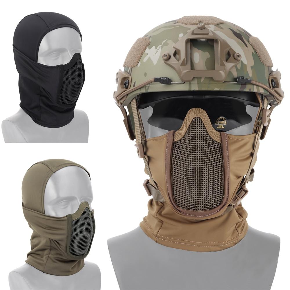 Тактическая полнолицевая маска-балаклава для мотоциклов, армии, страйкбола и пейнтбола, металлическая сетка, защитная маска для охоты