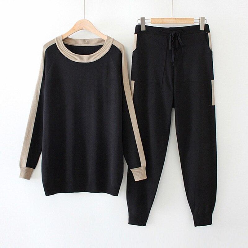 Grande taille femmes tricoté costume automne couleur ample match à manches longues pull et tricot pantalon 2 pièces ensemble noir XL XXL 3XL 4XL