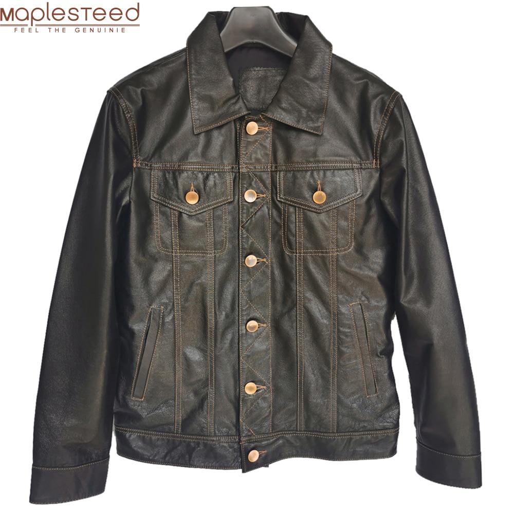 Männer Echtes Leder Jacke Soft Slim Fit Gegerbtem Schweinsleder Leder Jacken Männlichen Haut Mantel Frühling Kleidung M483