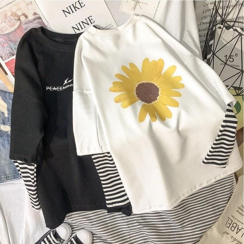 NiceMix, Camiseta con estampado de letras de flores, camisetas falsas de dos piezas de manga larga, camisetas de almazuela de rayas, Camisetas, Tops sueltos, jersey para mujer 2020