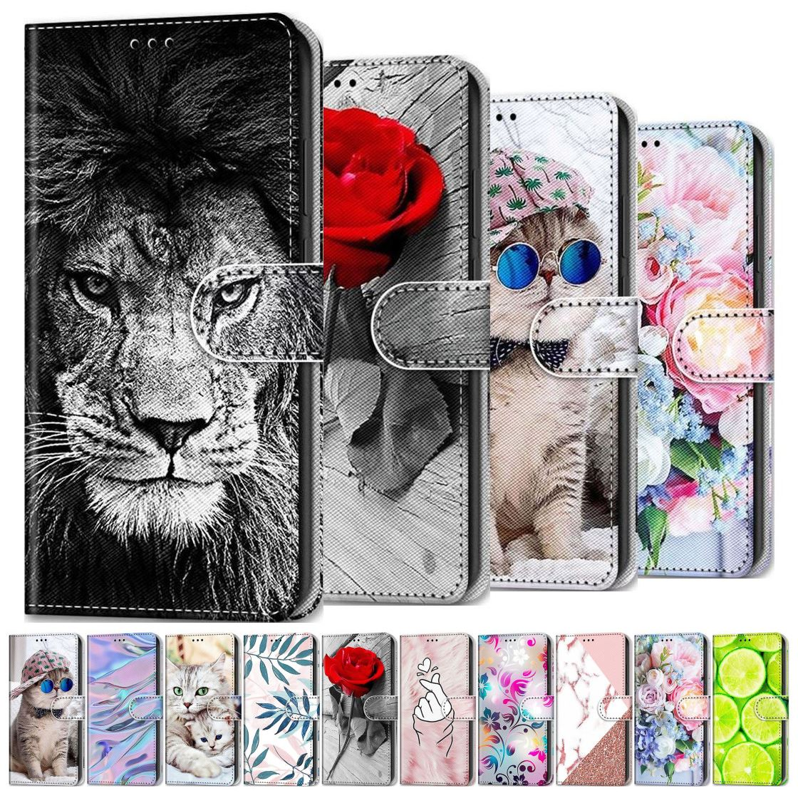 Rose Lion Painted Phone Shell For Wallet Huawei P8 Lite 2015 P9 Lite 2016 2017 P10 Lite Mate 10 20 L