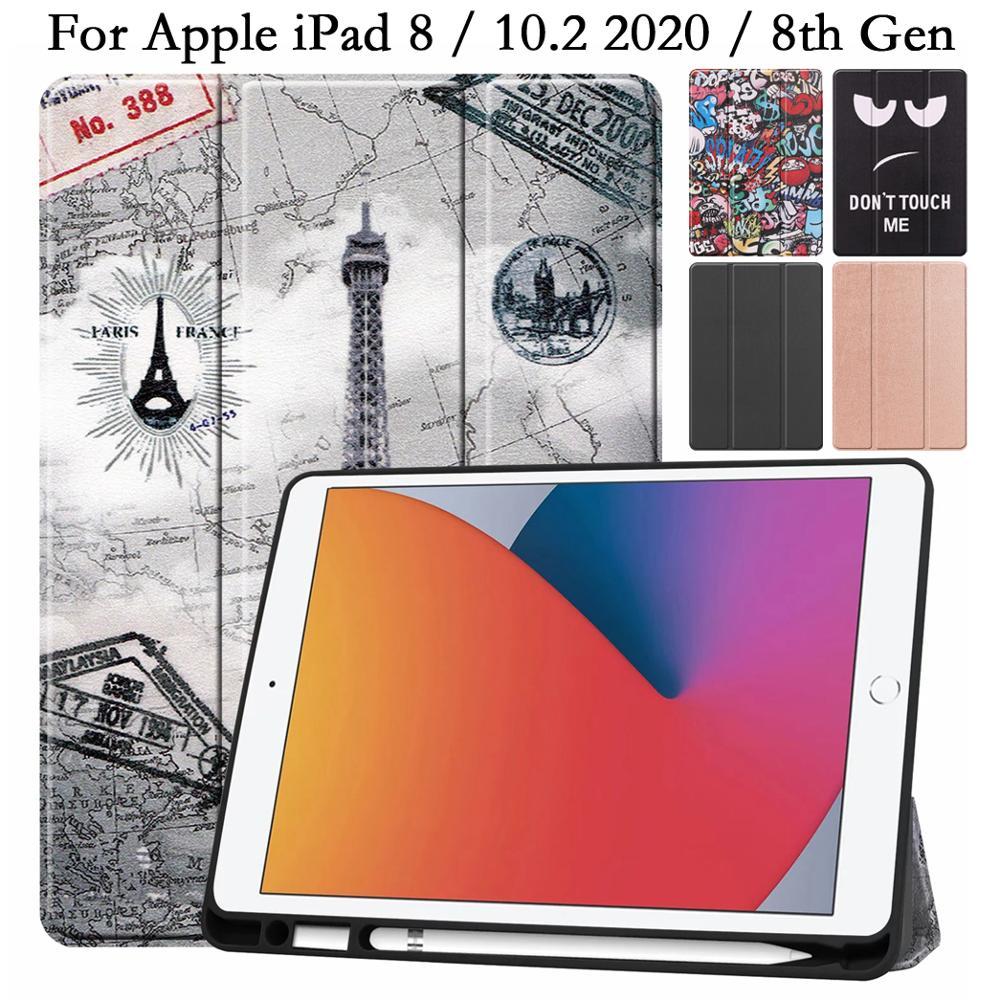 Tpu lápis titular flip fundas tablet caso para ipad 8 8th gen 10.2 2020 a2429 a2270 capa de couro do plutônio suporte auto sono escudo