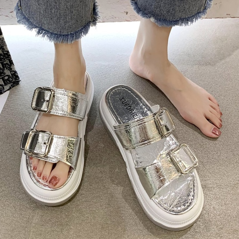 New Arrivals Summer Women Sandals Buckle Strap High Heels Mixed Color Sandales Fashion Casual Women's Shoes 6 Colors Available