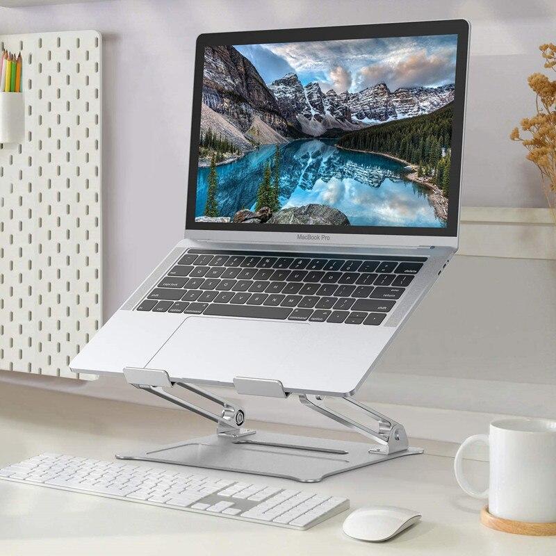 Liga de Alumínio Suporte para Macbook Todos os Laptops Suporte de Levantamento de Resfriamento Ajustável Portátil Dobrável Titular Antiderrapante ar Pro