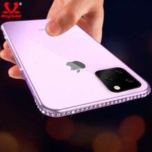 6D diamant clair étui pour iPhone 11 Pro Max XR Xs Max Transparent hybride paillettes femmes housse de téléphone pour iPhone 6S 7 8 Plus