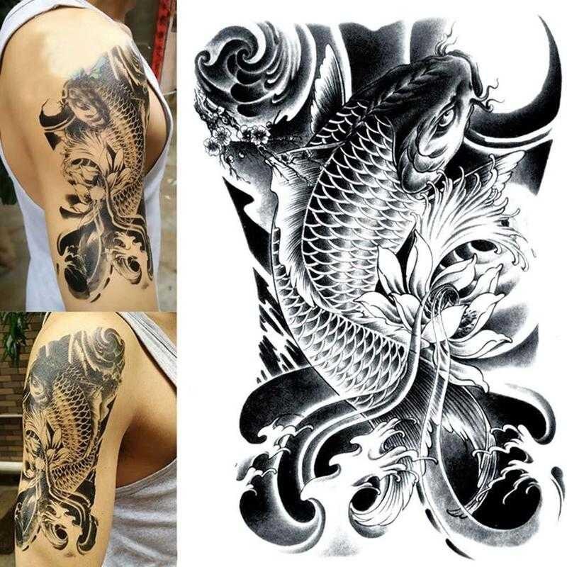 Tatuajes Temporales para brazo de pez 1 Uds. De China, pegatina Luckly temporal, tatuaje de pescado para hombres, tótem completo a prueba de agua, tatuaje Cool A5N2