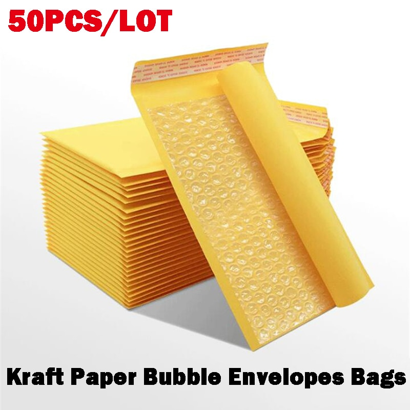 50PCS Kraft Paper Bubble Envelopes Bags Bubble Mailing Bag Mailers Padded Shipping Envelope Business Supplies Various Sizes