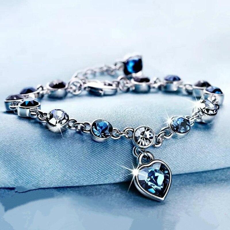Pulsera con colgante de corazón de cristal Natural de plata 925, joyería con amuleto tallado para mujer