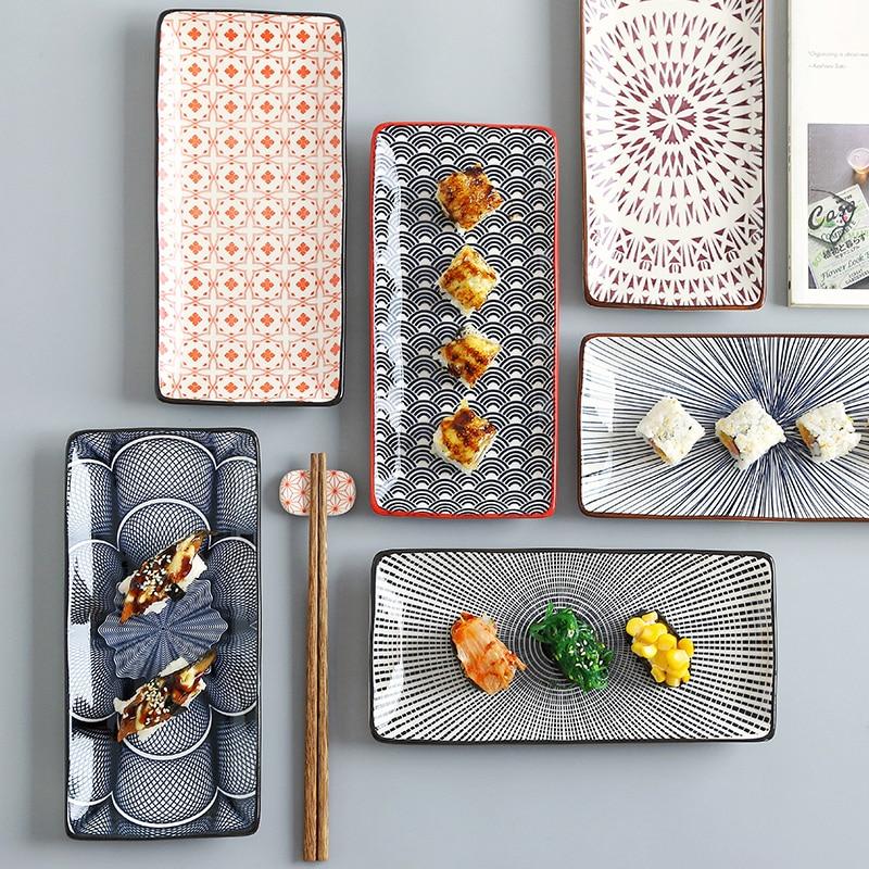 طبق سوشي سيراميك على الطريقة اليابانية مقاس 10 بوصات ، أطباق خزفية ، أطباق حلويات ، CZY1038