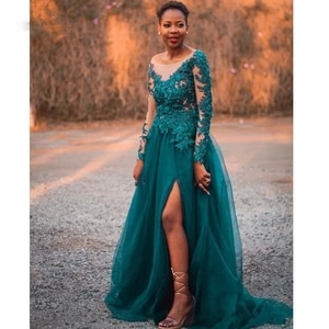 Green Evening Dresses A-line Net/Tulle Jewel Sweep/Brush Floor length Front/Side Slit Beading Applique long-sleeved Draped