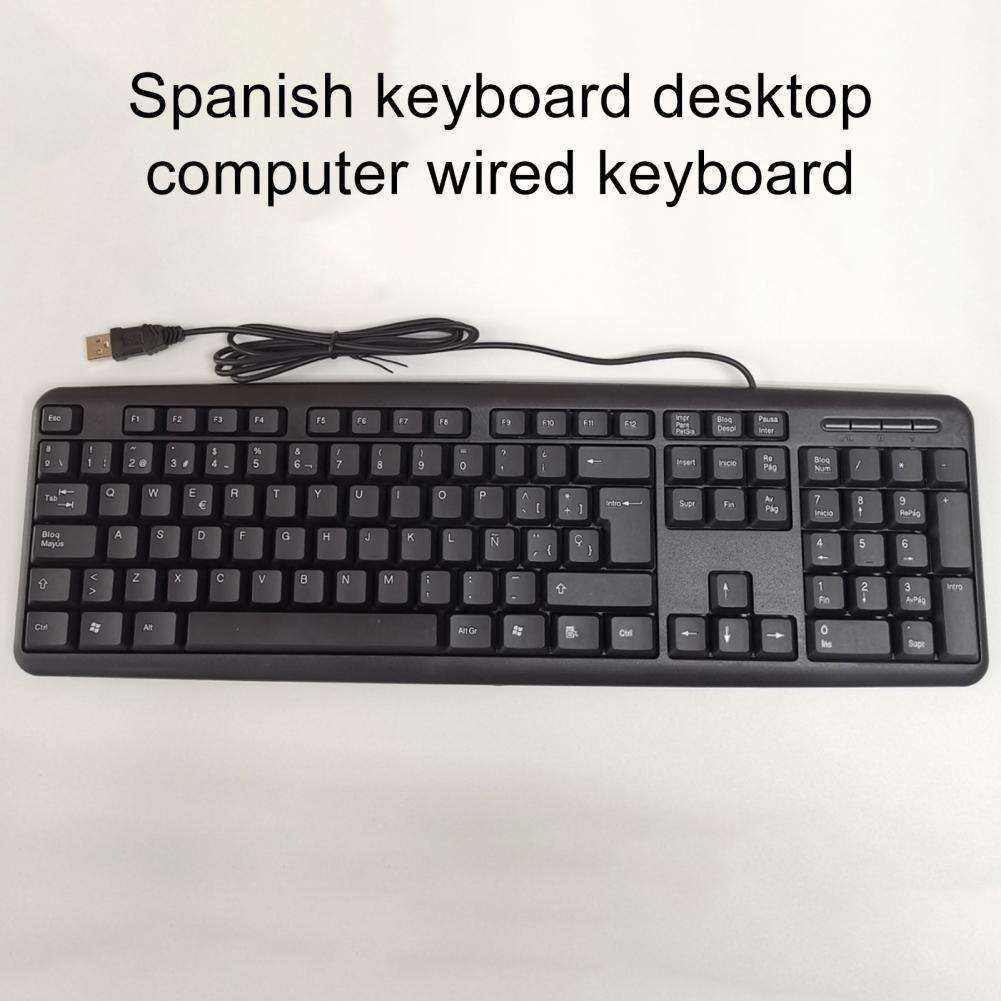 105 Keys Universal Spanish Language Ergonomic USB Wired Keyboard for PC Laptop