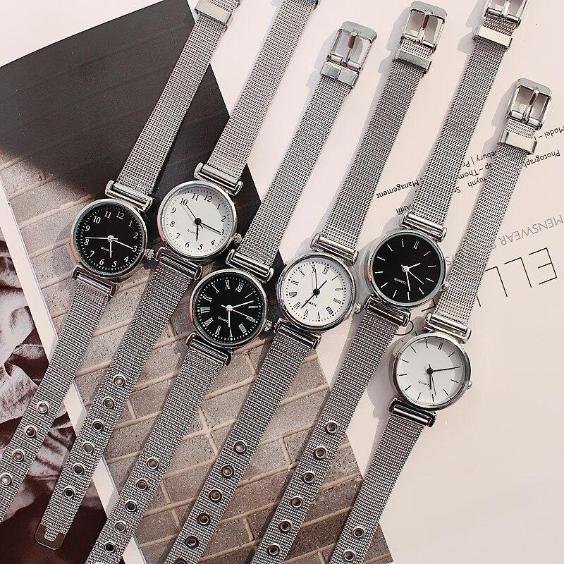 Relojes de vestir para mujer, reloj de pulsera de malla Retro a la moda, diseño de Mini esfera, reloj de cuarzo para mujer, reloj de Número romano a escala para mujer