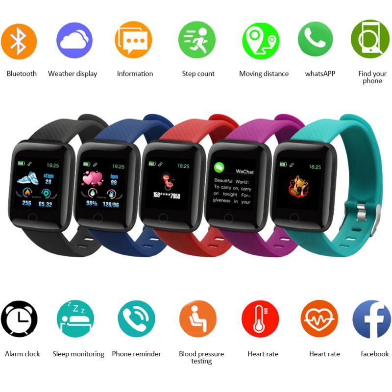 Monitor Band Fitness Tracker Wristbands Wearable Devices Pedometers 116Plus Smart Band Watch Bluetooth Heart Rate Blood Pressure