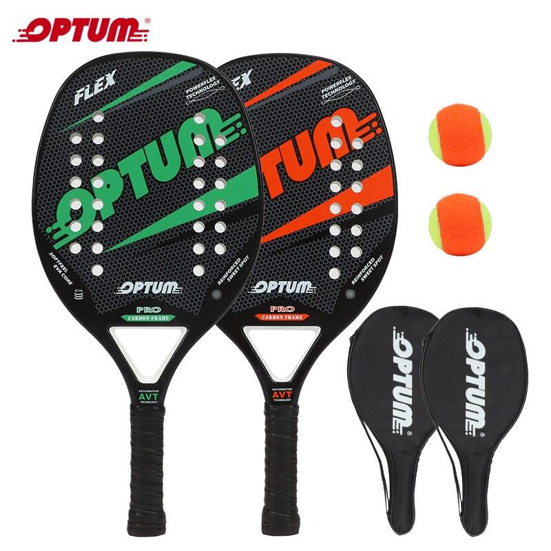 Beach tennis Racquet set OPTUM FLEX Beach Tennis Racket/Tennis Paddle Set,2 Paddles,2 Balls,and 2 Co
